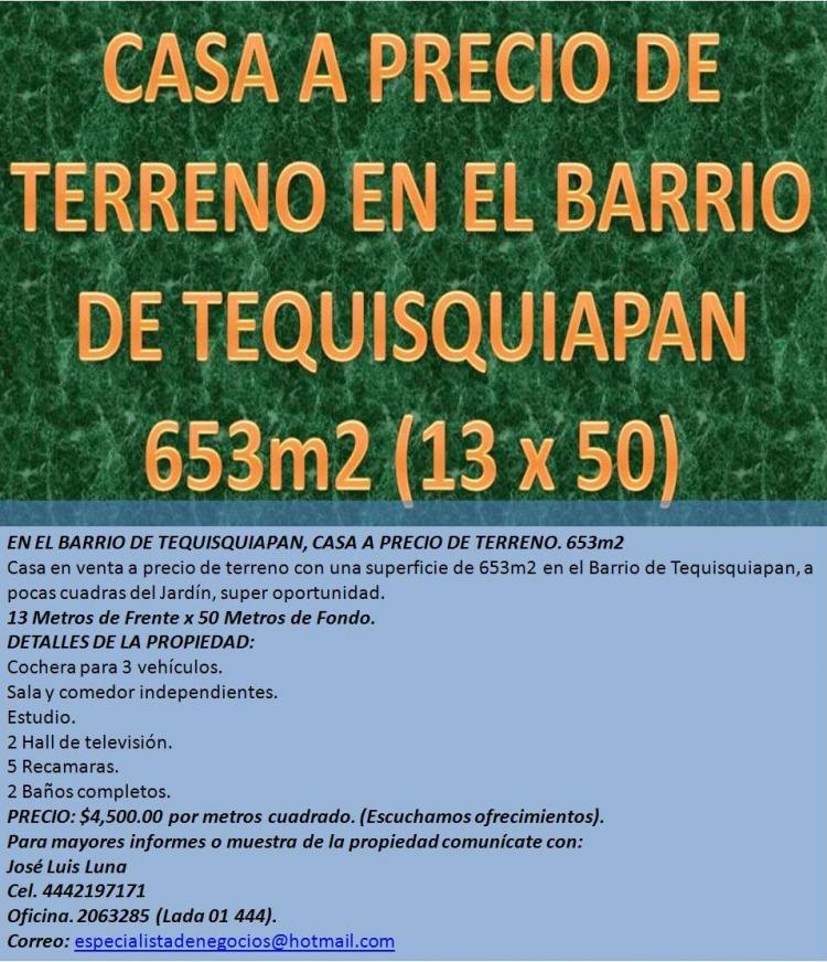 En el barrio de tequisquiapan casa a precio de terreno 653m2 cav35462 - Precios de internet para casa ...