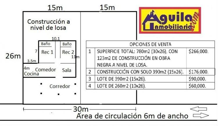 Foto VENDE TERRENO EN R/a G. M�NDEZ CON 123m2 CONSTRUCCI�N OBRA NEGRA
